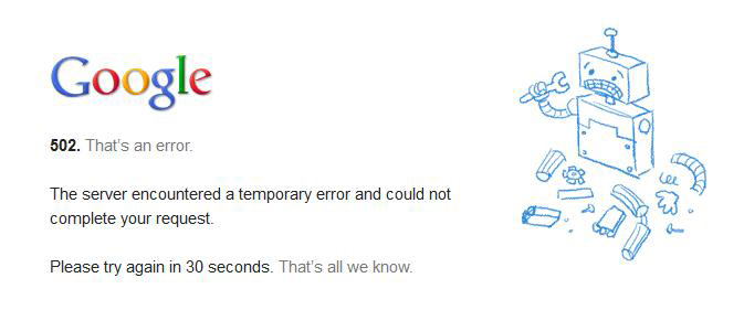 Que es el error 502 de gmail