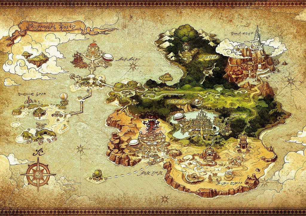 Mapa original de Reveria, el reino en el que se desarrolla la aventura
